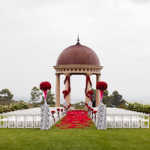 Red and Black Damask Real Wedding